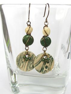 Artisan handmade textured polymer clay earrings with ceramic finish, wire wrapped Afican jade, Feldspath nuggets and handmade Vintaj earwire...