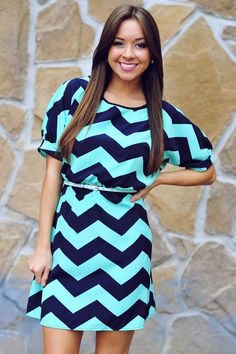 Best Of Both Worlds Dress: Mint/Navy | Hope's