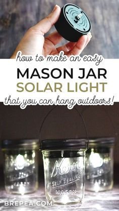 Wondering how to make DIY hanging mason jar solar lights? This tutorial is so easy and they would look great in your backyard or on your patio! #easymasonjar #diymasonjar #craft
