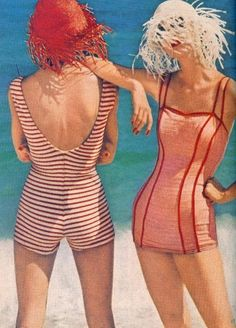 not gonna lie...kind of wish girls still wore swimsuits like this. (maybe not the hats though).