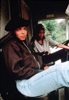 "Janet Jackson Regina King in ""Poetic Justice"" Janet Jackson Poetic Justice, Janet Jackson 90s, Jo Jackson, Black Girl Aesthetic, 90s Aesthetic, Hip Hop Fashion, 90s Fashion, School Fashion, Black Girl Magic"