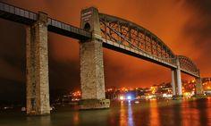 Brunel's Bridge over the Tamar by night (the road bridge seems to have been photoshopped out! Isambard Kingdom Brunel, Famous Bridges, Pedestrian Bridge, Steel Structure, Wood Bridge, Covered Bridges, Civil Engineering, Royal Albert, Sydney Harbour Bridge