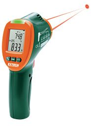 Extech IRT600 Dual Laser Infrared Thermal Condensation Scanner  The Extech IRT600 measures humidity and temperature to determine if mold growth conditions exist. The bright indicator LED has 3 warning levels. Green is normal which is 1/3 range, Environment Temperature - Dew Point. Yellow is a warning which is 2/3 range and indicates that mildew will develop. Red is an alert for an exceed in the 2/3 range and indicates mildew is present. Applications HVAC Mold Remediation Scientific…