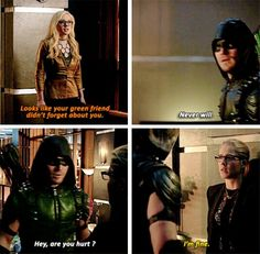 """Looks like your green friend didn't forget about you"" - Brie, Oliver and Felicity #Arrow"