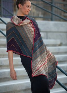 Ravelry: Smolder pattern by Grace Anna Farrow; grey heather, charcoal and slate, with gold, red and purple