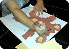 Teddy bear kids art project where they rip the pieces of paper instead of using scissors!