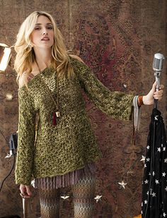 """""""Mary Beth Temple's hippie-chic Tunisian-crochet lace tunic is stitched with Koigu Wool Designs' 'KPPPM.' Buttons along the sleeve tops allow for some improvised shoulder-baring."""""""
