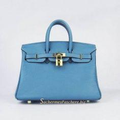Sacs Hermès Pas Cher Birkin 25cm Tote Sac Bleu Cuir Golden 6068 €191.00