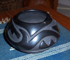 "Stella Chavarria Santa Clara Blackware Pot Jar Bowl Native American 3.5""x 5.5"""