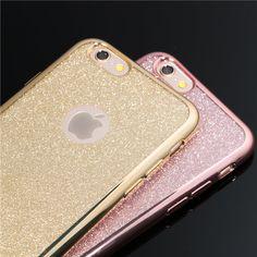 Galvaniseren crystal candy kleuren telefoon gevallen voor iphone 5 5 s se 6 6 s 6 plus 6 s Plus 7 7 Plus Zachte TPU Clear Glitter Back Cover
