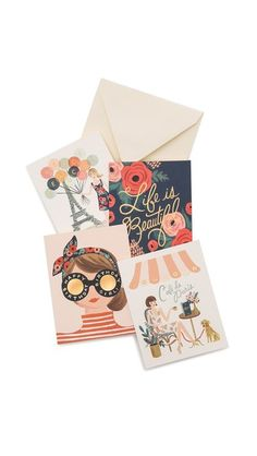 Rifle Paper Co Assorted Paper Crown Card Set designed by Anna Bond and Lauren Conrad. The colour scheme for these cards is wonderful!