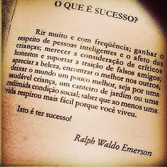 O QUE É SUCESSO? - Ralph Waldo Emerson