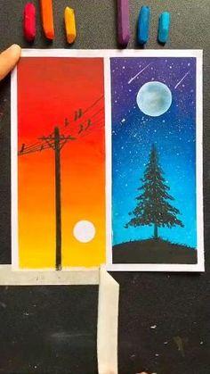 Art Drawings Beautiful, Art Drawings For Kids, Art Drawings Sketches Simple, Easy Drawings, Oil Pastel Drawings Easy, Oil Pastel Art, Diy Canvas Art, Small Canvas Art, Watercolor Art