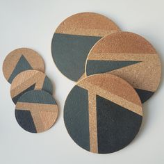 Coaster Art, Coaster Crafts, Cork Coasters, Wall Clock Wooden, Cement Art, Art N Craft, Camping Crafts, Diy Arts And Crafts, Handmade Furniture