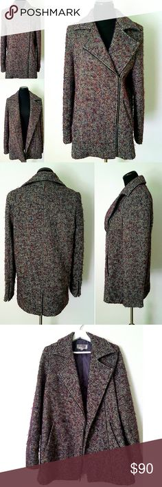 """Ecotè Winter Wool Coat Gorgeous tweed zip up coat. Fully lined, two side pockets, zippers on the sleeves.  45% wool, 43% polyester, 10% acrylic, 2% other fibers. The back slit is still stitched.  15.5"""" shoulder to shoulder, 29"""" long shoulder to bottom hem, 25"""" long sleeves. In excellent condition. Urban Outfitters Jackets & Coats Pea Coats"""