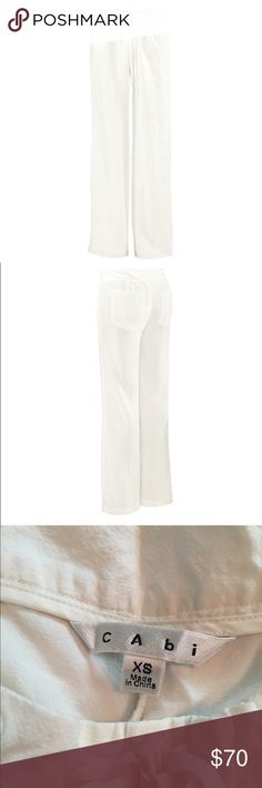 CAbi Piazza Pant NWOT. CAbi Spring 2016 Piazza Pant. Sample. Loose, breezy, and extremely comfortable. Drawstring waist. The white linen is sheer so wear loose with nude undergarments and you should be fine! CAbi Pants