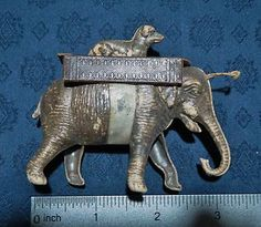 Antique German Dresden Elephant with A Dog on Its Back