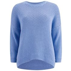 HUGO Women's Sallee Oversized Knit Jumper - Turquoise/Aqua ($110) ❤ liked on Polyvore featuring tops, sweaters, sweaters/sweatshirts, blue, long sleeve knit sweater, crewneck sweater, over sized sweaters, long sleeve sweaters and aqua sweater