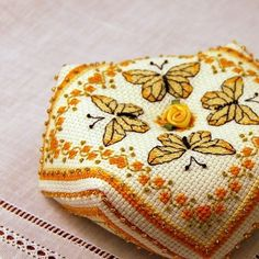 Yellow Butterflies Biscornu Cross Stitch Pattern Instant Download