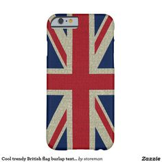 Cool trendy British flag burlap texture Barely There iPhone 6 Case