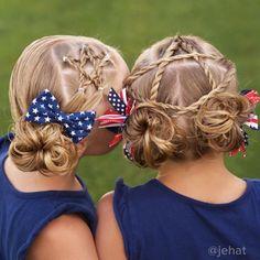 of July star hair Cute Girls Hairstyles, Princess Hairstyles, Holiday Hairstyles, Ponytail Hairstyles, Hairstyle Ideas, Girl Hair Dos, Kid Hair, Crazy Hair Days, Star Hair