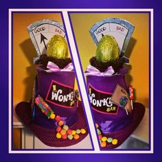 Willy Wonka inspired Easter Hat Bonnet golden goose egg Charlie and the chocolate factory. Crazy Hat Day, Crazy Hats, Easter Bonnets For Boys, Easter Hat Parade, Easter Games, Easter Crafts, Easter Projects, Easter Chocolate, Willy Wonka