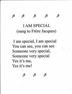Song: I am Special Preschool Song: I am SpecialPreschool Song: I am Special Kindergarten Songs, Preschool Music, Preschool Classroom, Preschool Learning, Teaching, Preschool Fingerplays, Circle Time Songs, Circle Time Activities, About Me Activities
