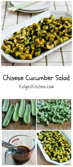 When it's hot outside or you have a lot of garden cucumbers to use, this Chinese Cucumber Salad will be a hit.  #LowCarb #Vegan #GlutenFree [from KalynsKitchen.com]