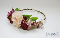Silk Flower Crown Blush Pink Burgundy by blueorchidcreations