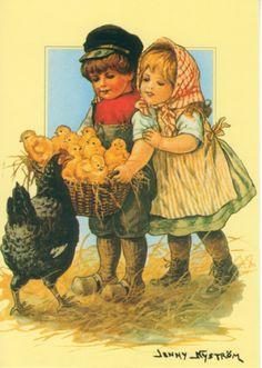 Jenny Nyström: Zoon van kuiken mand, zwarte kip beschouwt - Huuto.net