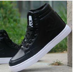 Encontrar Más Moda Mujer Sneakers Información acerca de 2015 Skull Printed zapatillas de deporte moda para hombre cuero de la PU suave para hombre altas zapatillas de deporte 4 colores, alta calidad Moda Mujer Sneakers de shi shang qian xian en Aliexpress.com