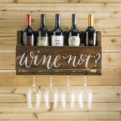 Gracie Oaks Mccandless 5 Bottle Wall Mounted Wine Bottle and Glass Rack Wine Bottle Rack, Wine Rack Wall, Wood Wine Racks, Pallet Wine Rack Diy, Bottle Opener, Wine Rack From Pallets, Diy Pallet, Pallet Furniture Wine Rack, Diy Wine Racks