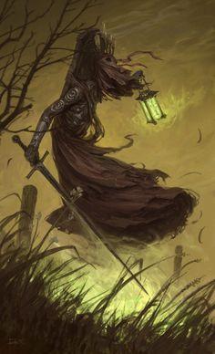 Fantasy Inspiration — quarkmaster: The Phantom of Eldberg fanart. Dark Fantasy Art, High Fantasy, Fantasy Rpg, Medieval Fantasy, Fantasy Artwork, Dark Art, Fantasy Monster, Monster Art, Arte Horror