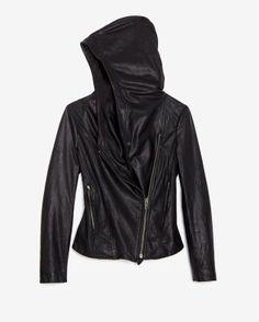 Hooded leather moto jacket