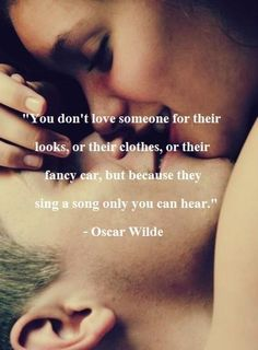 oscar wilde — 'You don't love someone for their looks, or their clothes, or for their fancy car, but because they sing a song only you can hear.' I love Oscar Wilde Cute Couple Quotes, Cute Quotes, Great Quotes, Inspirational Quotes, Top Quotes, Motivational Quotes, Quotes Images, Wild Quotes, Happy Quotes