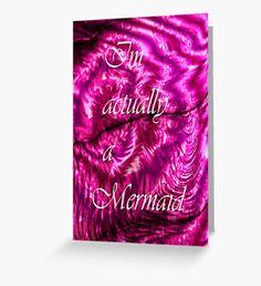 I´m Actually A Mermaid - Pink Greeting Card Mermaid Quotes, Mermaid Artwork, Mermaid Illustration, Watercolor Mermaid, Mermaid Tale, Pink Art, Surface Pattern, Fantasy Art, Original Art