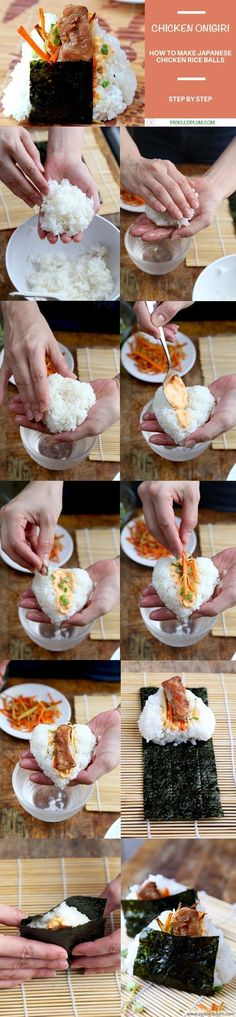 Onigiri with Chicken, Spicy Sri Racha Mayo, Carrot & Ginger - Healthy recipe that's also kid friendly! Japanese Food - Pickled Plum http://www.pickledplum.com/onigiri-japanese-food-recipe/