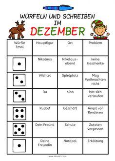 Würfeln und schreiben im Dezember #freebie Teaching Activities, Teaching Kids, Kids Learning, Primary School, Elementary Schools, Roll A Story, Welcome To School, German Words, Learn German