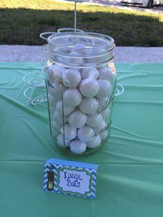 "Hole in One first birthday party. ""Range Balls"" (white gum balls)"