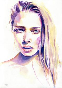 Watercolor portraits, paint, painting, drawing, illustration by Cora and Tiana Watercolor Face, Watercolor Fashion, Watercolor Portraits, Watercolor Illustration, Watercolor Paintings, Watercolors, The Beast, Social Art, Guache