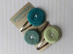Simple Felt Hair Clips Pink & Green by PaperdollAccessories