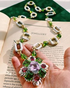 Still making the case for peridot, this time paired expertly with kunzite and tourmaline and white enamel that pops! 💚💖💚 Perfect Definition, David Webb, Religious Jewelry, White Enamel, Jewelry Rings, Jewellery, Peridot, 18k Gold, Diamond Cuts