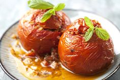 Gemista recipe (Greek Stuffed Tomatoes and Peppers with rice) - My Greek Dish - Mediterranean Food/Recipes - Greek Recipes Fodmap Recipes, Rice Recipes, Cooking Recipes, Recipies, Dinner Recipes, Yemista Recipe, Greek Cooking, Greek Dishes, Eggplant Recipes