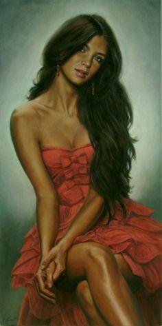 The red dress by Emmanuel Garant