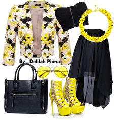 Yellow by delilah-torres on Polyvore featuring polyvore fashion style NLY Trend Miss Selfridge Fahrenheit Slate & Willow