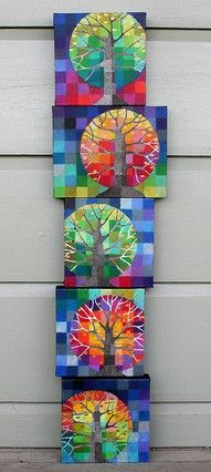 """Little Trees Growing"" by Loretta Grayson. These originals are oils. Thinking grade could maybe do this as a paper mosaic and maybe zentangle tree trunk. School Art Projects, Art School, Family Art Projects, Arte Elemental, Classe D'art, 5th Grade Art, Ecole Art, Inspiration Art, Art Classroom"