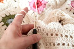 Beautiful edging for a crocheted blanket.