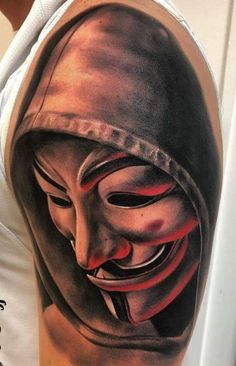 Drake Tattoos, Gangsta Tattoos, Chicano Tattoos, Leg Tattoos, Body Art Tattoos, Tattoos For Guys, Anonymous Tattoo, Anonymous Mask, Tiger Tattoo Sleeve