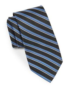 August Silk Double Striped Silk Tie Men's Black