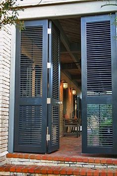 Screen Porch Shutters Louvered Shutter Doors For Dogtrot Or Breezeway Would Also Make A Delightful Entrance To Courtyard Interior Exterior, Home Interior, French Exterior, Garage Exterior, Bungalow Exterior, Craftsman Exterior, Interior Shutters, The Doors, Windows And Doors
